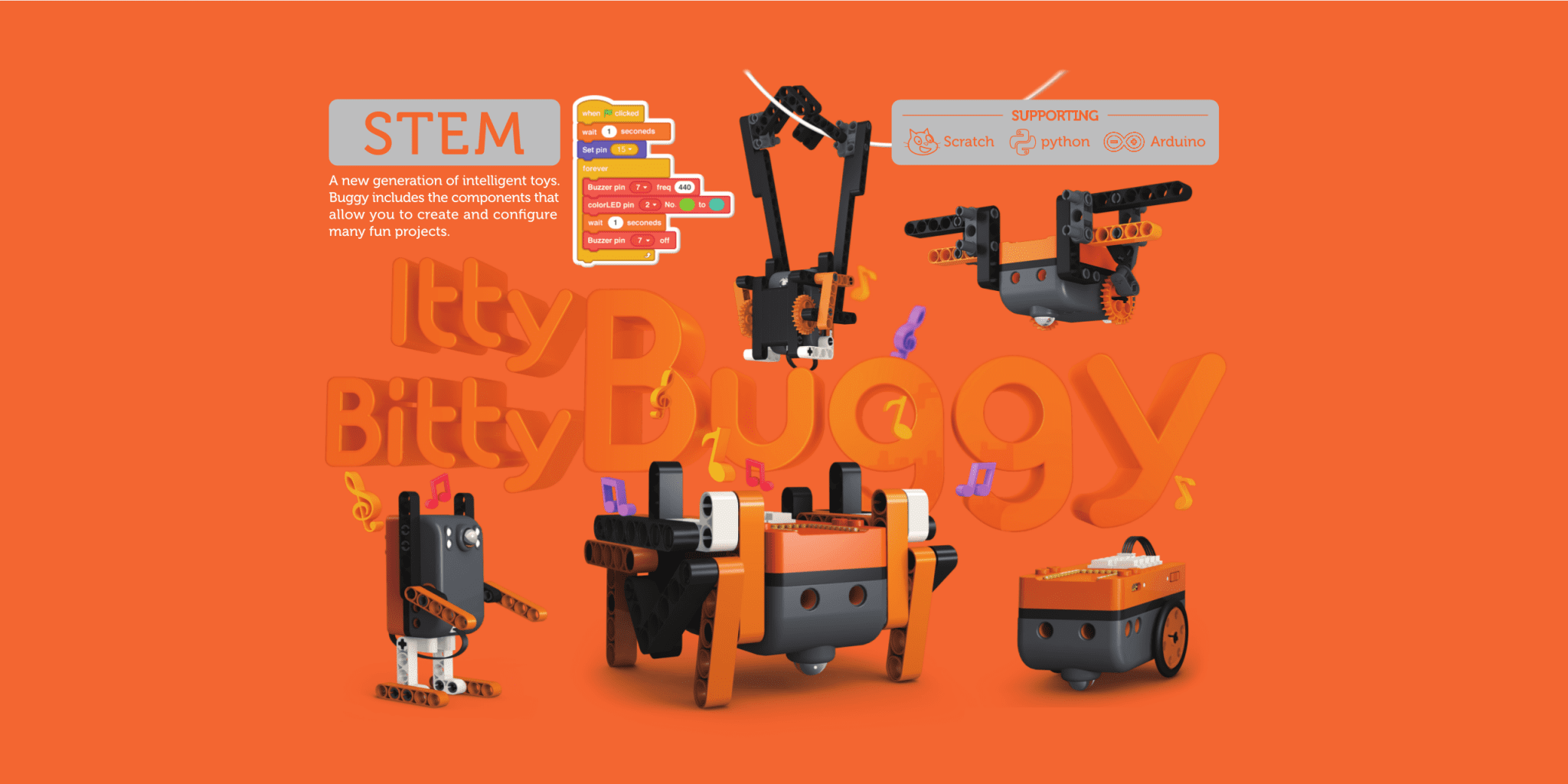 image of Itty Bitty Buggy which support Scratch python and Arduino for STEM education